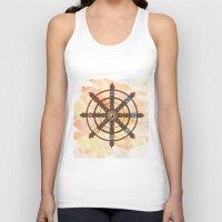 buddhism Tank Tops featuring Buddhism Dharma Wheel by Rachael Amber