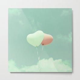 Innocent Love, Pink heart balloons on soft blue sky Metal Print
