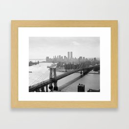 Photograph of NYC and The Williamsburg Bridge Framed Art Print