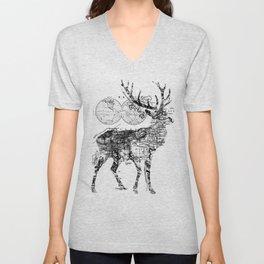 Deer Wanderlust Black and White Unisex V-Neck
