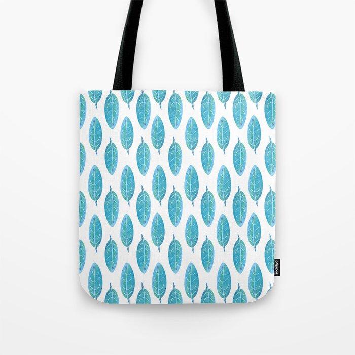 Peacock Blue Leaf Pattern Tote Bag
