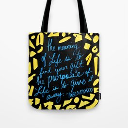 Picasso Quote in Teal and Yellow Tote Bag