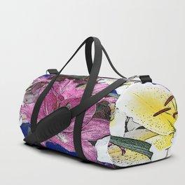 PURPLE & WHITE ASIAN GARDEN LILIES DRAWING Duffle Bag