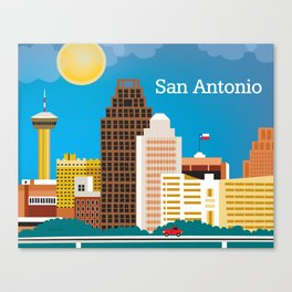 San Antonio, Texas - Skyline Illustration by Loose Petals Canvas Print