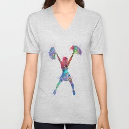 Cheerleader Art Girl Cheerleading Sports Dance Gift Colorful Watercolor Decor Unisex V-Neck