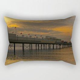 Paignton Pier Orange Sunrise Rectangular Pillow
