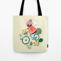 bee Tote Bags featuring Bee by ilana exelby