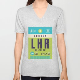 Retro Airline Luggage Tag - LHR London Heathrow Unisex V-Neck