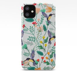 Hummingbirds and Summer Flowers iPhone Case