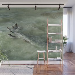 Sea Lions Cavorting in a Green Sea Wall Mural