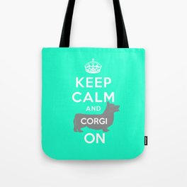 keep calm and corgi on Tote Bag