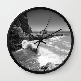 Waves crash along Rancho Palos Verdes coastline Wall Clock