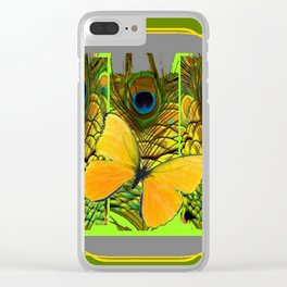 GREEN ART NOUVEAU BUTTERFLY PEACOCK PATTERNS Clear iPhone Case