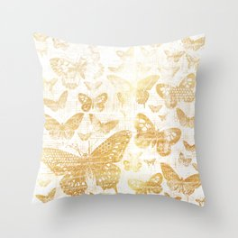 Rustic gold butterfly pattern Throw Pillow