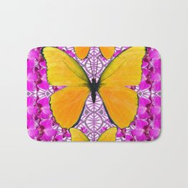FUCHSIA COLORED  ORCHIDS &  YELLOW  BUTTERFLY FLORAL Bath Mat