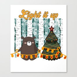Light it up tiny bear Christmas in the forest Canvas Print