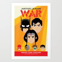 justice league Art Prints featuring Justice League: War by William Vega