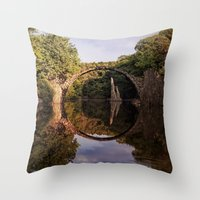 geology Throw Pillows featuring Mystical stone arch by UtArt