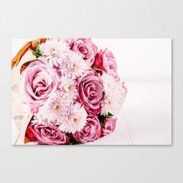 Pink Roses and Gerbera Daisy Flowers Wedding Bouquet, Love Photo, Romantic Celebration, Wall Art Canvas Print