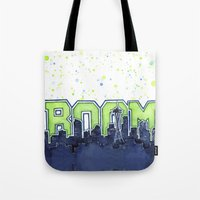 seahawks Tote Bags featuring Seattle Legion of Boom Space Needle Skyline Watercolor  by Olechka