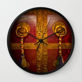 Tibetan Temple Doors, Kathmand, Nepal Wall Clock