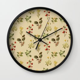 Wild Forest and Field Flower Herb Pattern Wall Clock