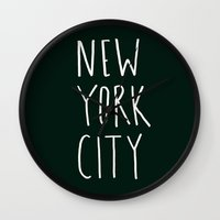 nyc Wall Clocks featuring NYC by Leah Flores