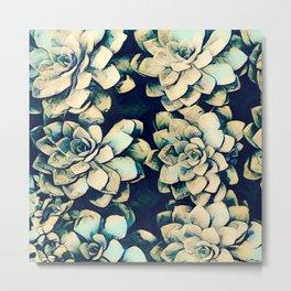Vibrant Green Succulent Cactus Flower Art Print  Metal Print