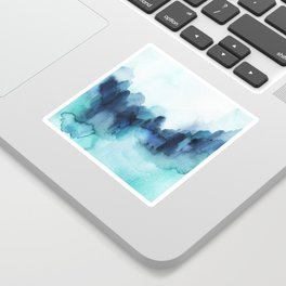 Wonderful blues Abstract watercolor Sticker