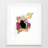 bombs away Framed Art Prints featuring Bombs Away by 'Til Death Designs