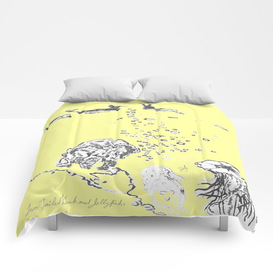 Two Tailed Duck and Jellyfish Baby Yellow  Comforters