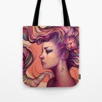 roses Tote Bags featuring Leah by Megan Lara