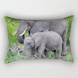 african elephant mother with baby Rectangular Pillow