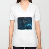 bucky barnes V-neck T-shirts featuring The Winter Soldier (Bucky Barnes) by thecannibalfactory