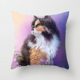 Calico Kitty In The Garden Throw Pillow