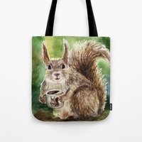 squirrel Tote Bags featuring Squirrel by Anna Shell