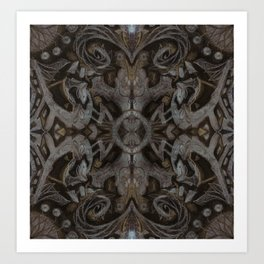 Curves & Lotuses, Black Brown Taupe Art Print