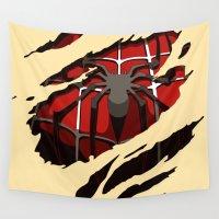 superhero Wall Tapestries featuring superhero torn - Spider by UNDeRT4keR
