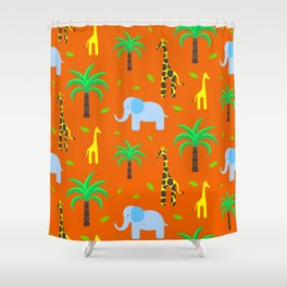 Jiraffe and elephant african pattern Shower Curtain