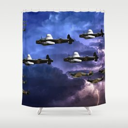 Lancaster Bombers With Spitfire Escorts Shower Curtain