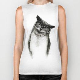 Owl Sketch Biker Tank