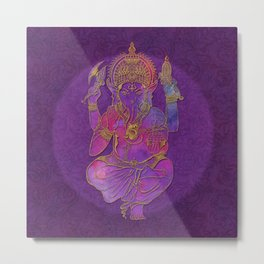 Ganesha hindu god watercolor gold purple art Metal Print