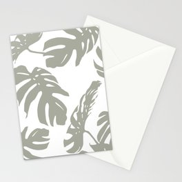 Simply Retro Gray Palm Leaves on White Stationery Cards