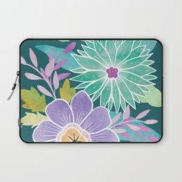 Watercolo Flowers on Teal Laptop Sleeve