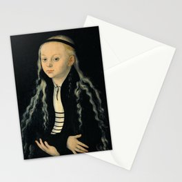 """Lucas Cranach the Elder """"Portrait of a young girl (presumably a portrait of Magdalena Luther)"""" Stationery Cards"""