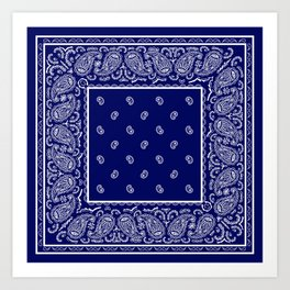 Blue and White Bandana Art Print