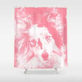border collie dog 5 portrait wspw Shower Curtain
