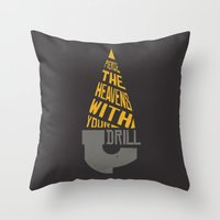 gurren lagann Throw Pillows featuring Pierce The Heavens With Your Drill by 5eth