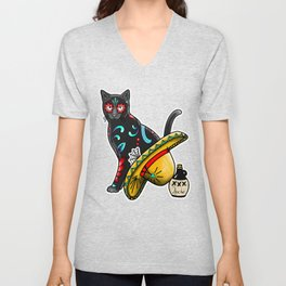 Gato en un Sombrero - Day of the Dead Sugar Skull Cat - Dia de los Muertos Kitty Unisex V-Neck