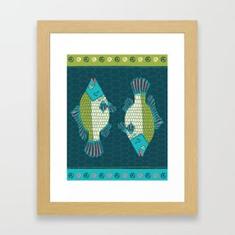 Tropical Paleo – Tilapia in Teal Framed Art Print